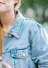 denim jacket with distressed collar - epiphany boutiques