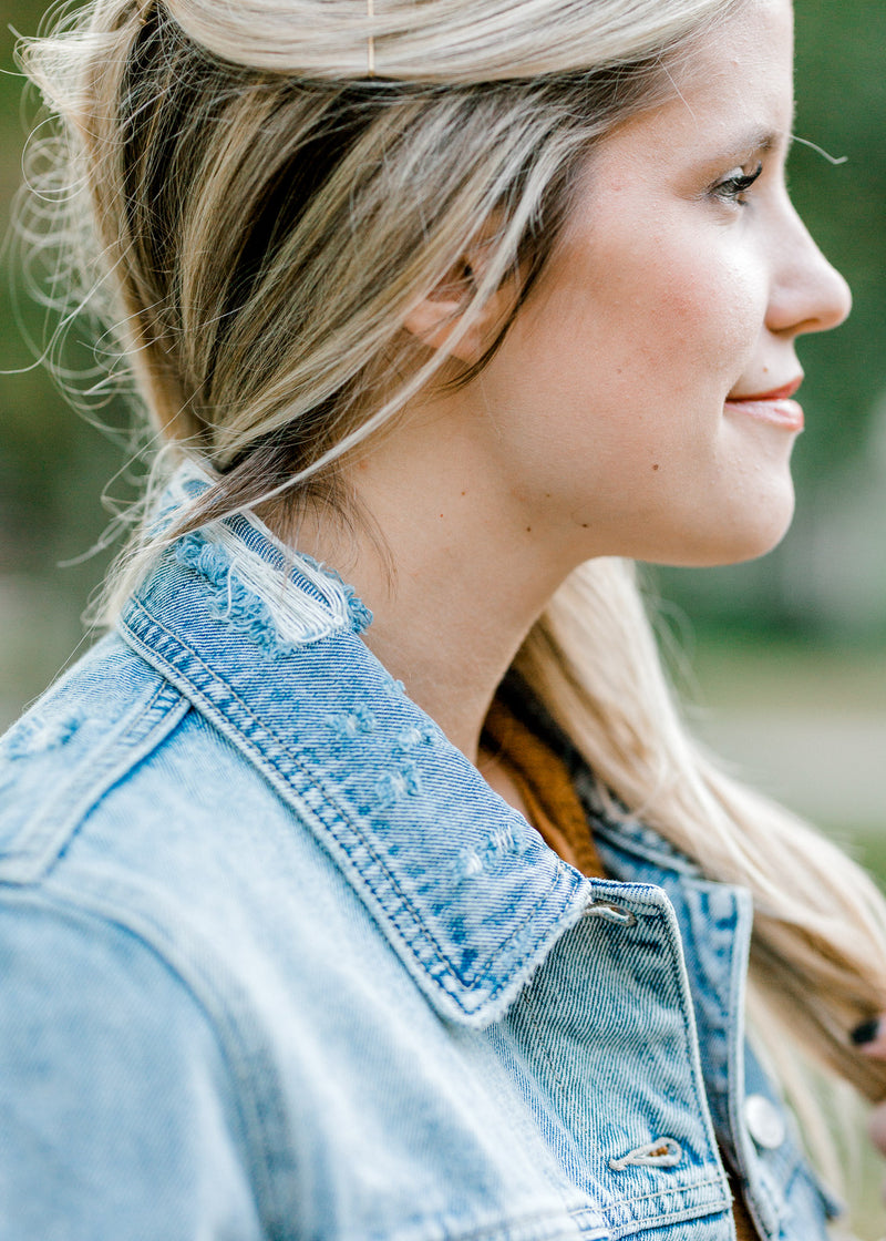 denim jacket torn collar - epiphany boutiques