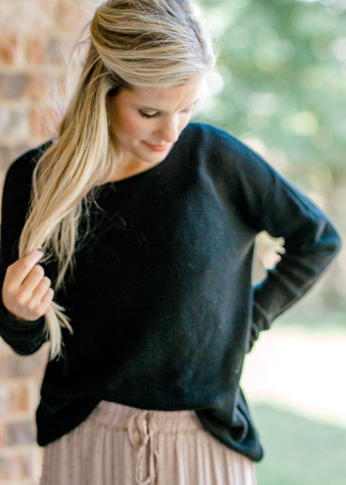 waffle knit black sweater - epiphany boutiques