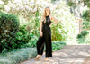 black jumpsuit with front tie - epiphany boutiques