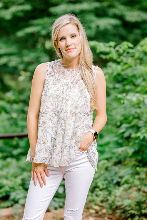 ivory floral top - epiphany boutiques