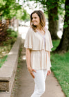 taupe top with crochet  - epiphany boutiques