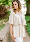 taupe tiered top with crochet detail - epiphany boutiques
