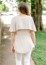 taupe top with tier - epiphany boutiques