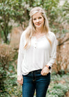 ivory top with buttons - epiphany boutiques