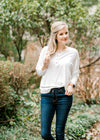 ivory top with knit fabric - epiphany boutiques