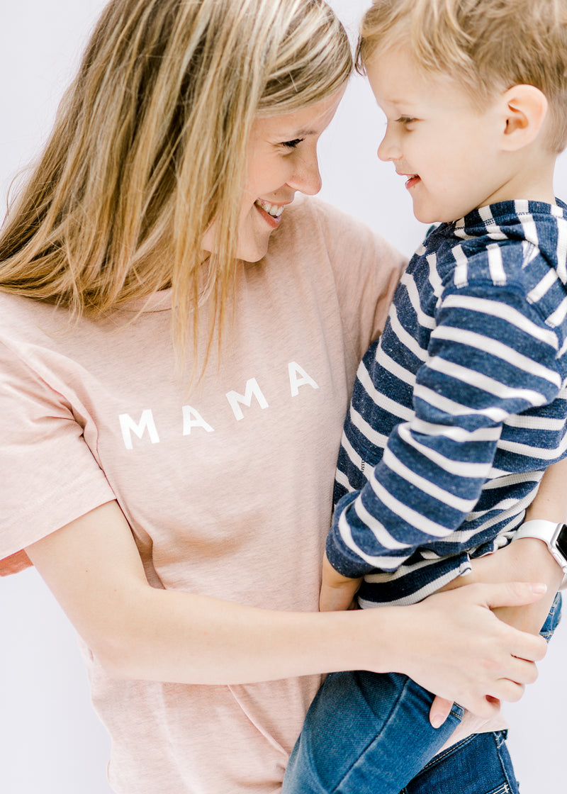 mama tee in peach - epiphany boutiques