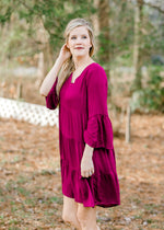magenta dress with bell sleeves - epiphany boutiques