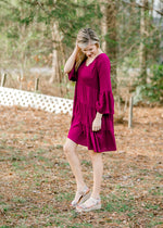 magenta dress with v neck - epiphany boutiques