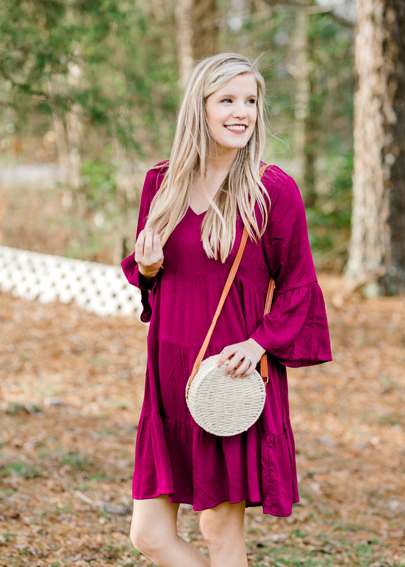 model in magenta dress - epiphany boutiques