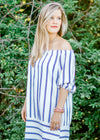 model in off the shoulder dress - epiphany boutiques