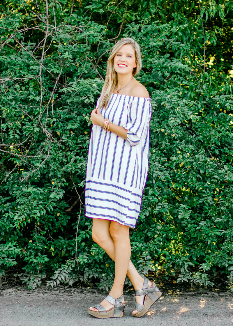 blue striped dress - epiphany boutiques