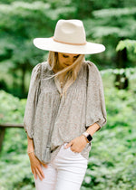 sage top with mocha pattern - epiphany boutiques