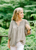 sage top with elastic sleeve detail - epiphany boutiques