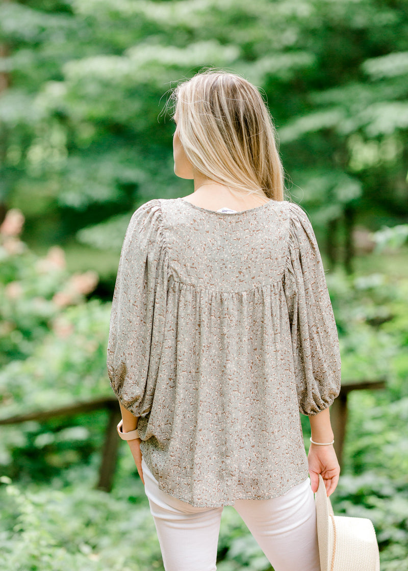 sage smocked top back view - epiphany boutiques