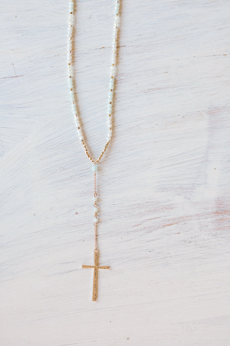 mint and gold cross necklace - epiphany boutiques