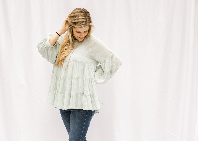 mint top with swiss dot - epiphany boutiques