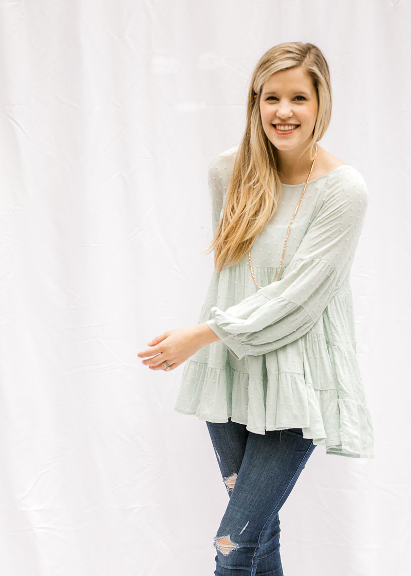 dotted swiss top in mint - epiphany boutiques