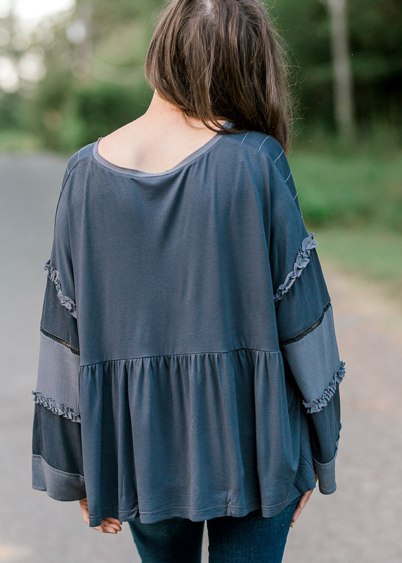 grey detailed top - epiphany boutiques