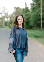 mixed media grey top - epiphany boutiques
