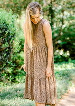 X Mocha Abstract Dot Dress
