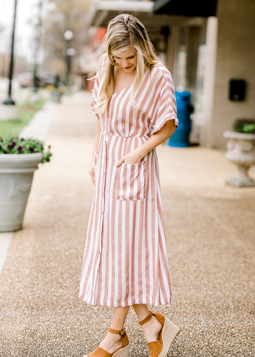 mocha striped midi dress - epiphany boutiques