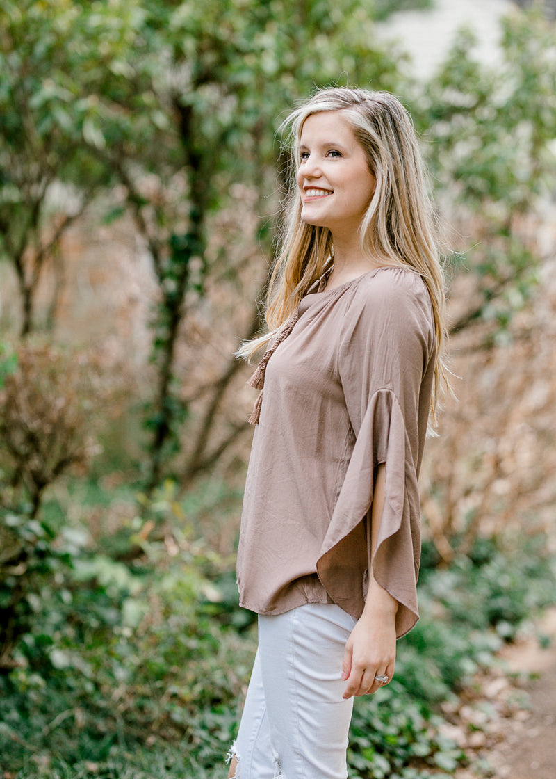 mocha top with sleeve detailing - epiphany boutiques