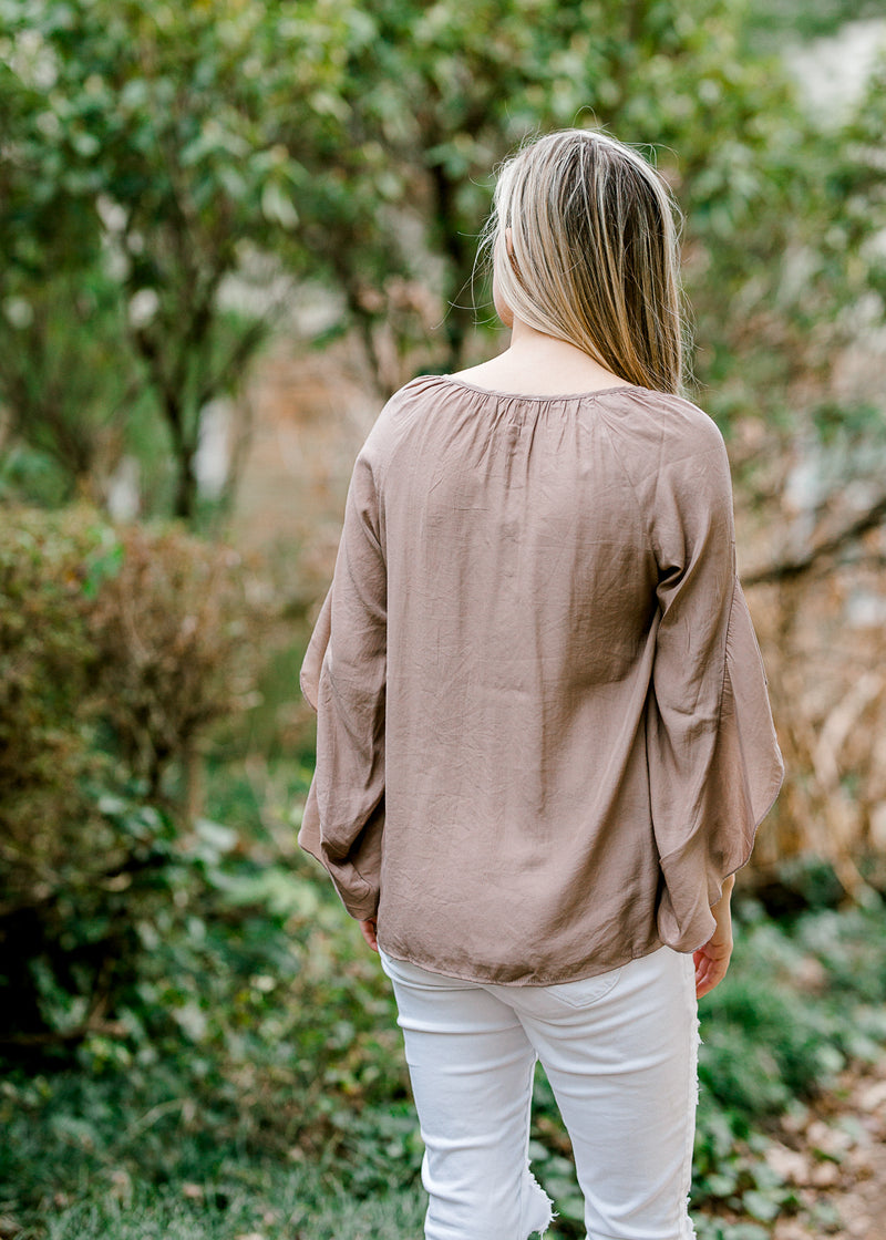 mocha top with tassels back view - epiphany boutiques