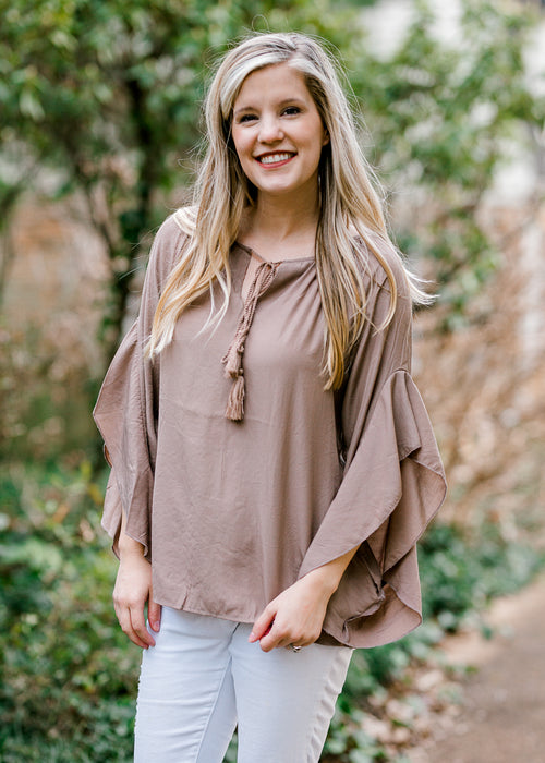 mocha top with tassels - epiphany boutiques