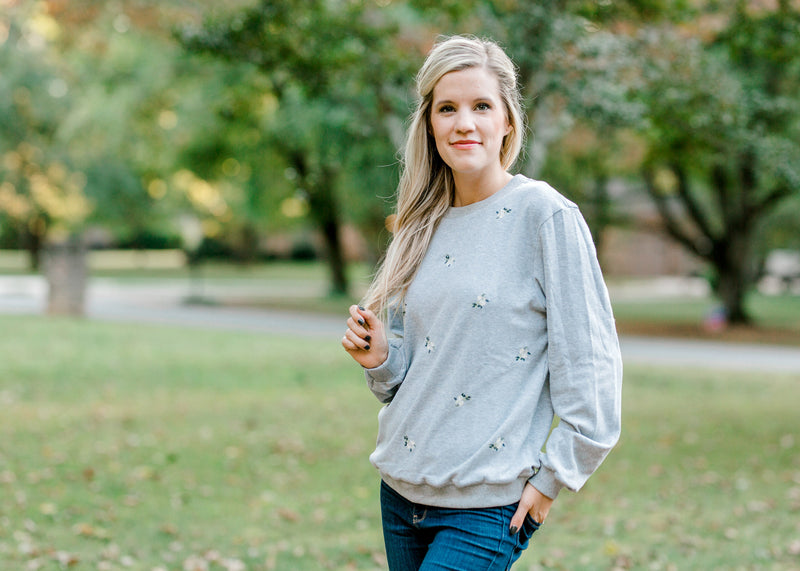 gray sweatshirt with flowers embroidered - epiphany boutiques