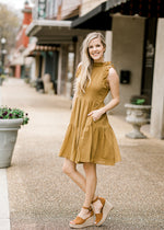 mossy green dress with pockets and ruffles - epiphany boutiques