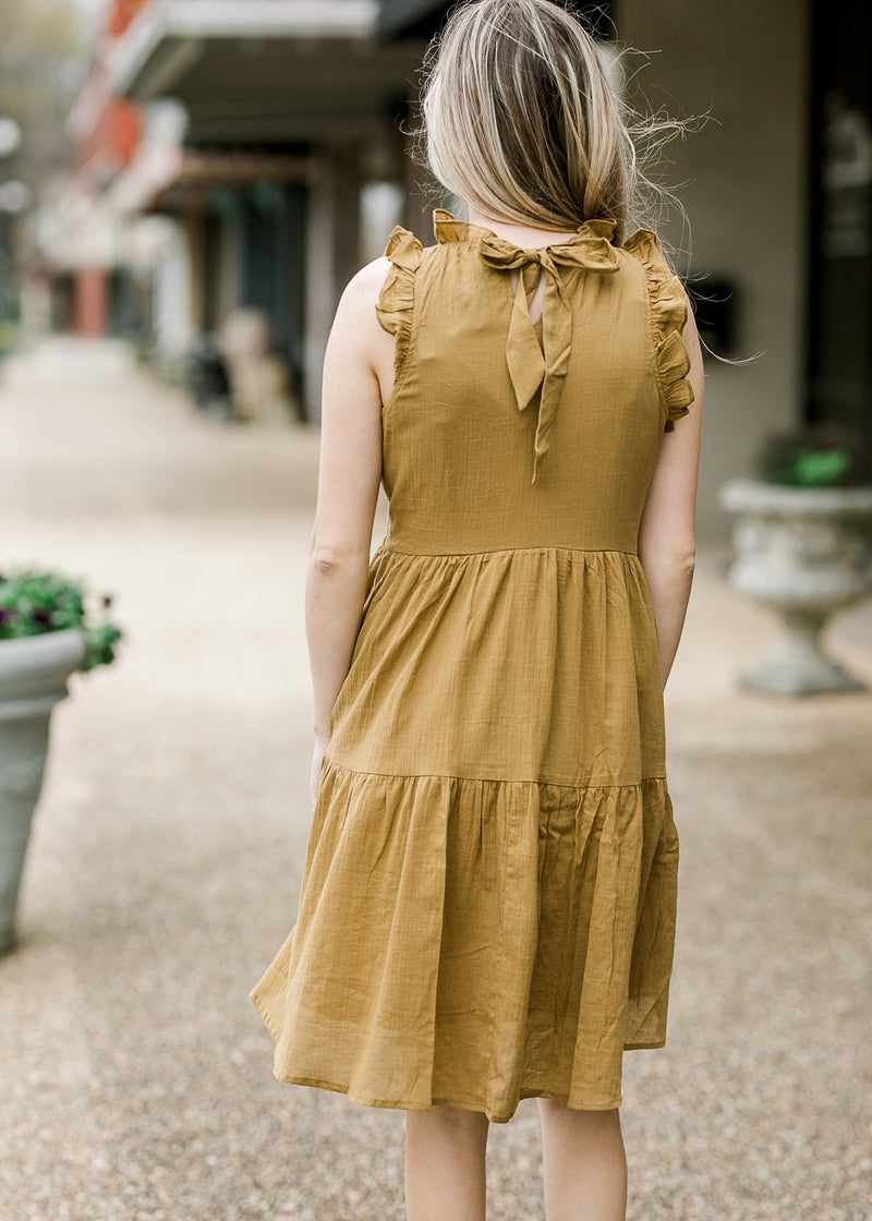 mossy green dress back view - epiphany boutiques