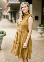 fully lined golden green cotton dress - epiphany boutiques