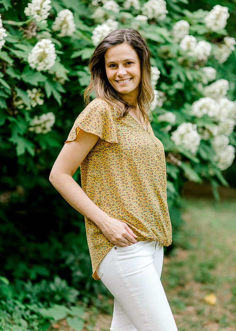 mustard drape top - epiphany boutiques