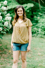 mustard v neck top - epiphany boutiques
