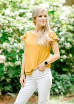 mustard top with tulip detail - epiphany boutiques
