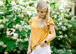 mustard top with tulip sleeve - epiphany boutiques