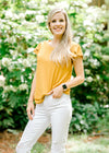 mustard short sleeve top with tulip cut sleeves - epiphany boutiques