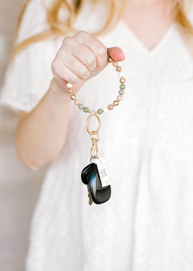X Muted Beaded Key Ring