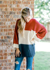 color block russet sweater - epiphany boutiques