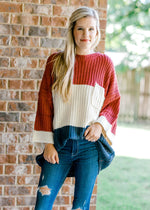 model wearing a sweater with pockets - epiphany boutiques