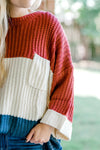 color block sweater with pocket - epiphany boutiques