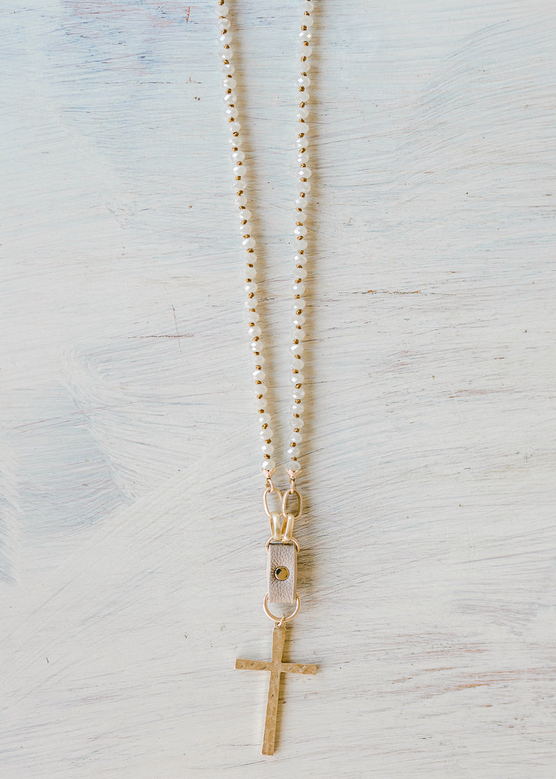 cross on natural beaded necklace - epiphany boutiques