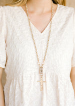 natural crystal cross necklace - epiphany boutiques