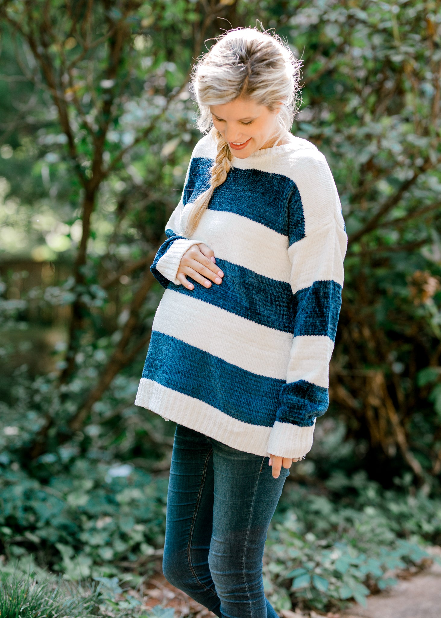 Navy and White Striped Sweater for the Bump