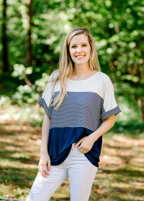 navy colorblock shirt - epiphany boutiques