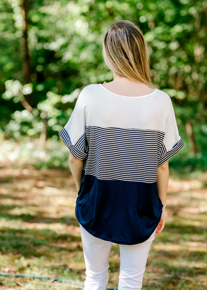 top with navy stripes back view - epiphany boutiques