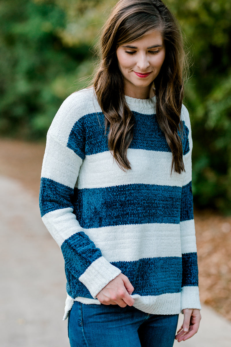 X Navy and White Striped Sweater for the Bump