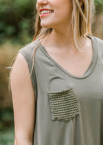 sage top with pocket detail - epiphany boutiques