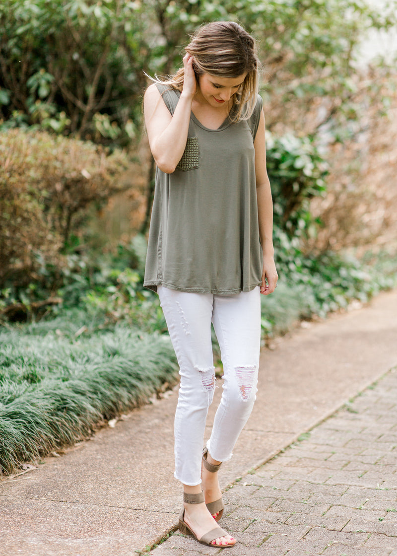 sage tank top with scoop neck - epiphany boutiques